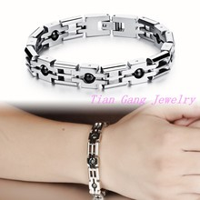 New Fashion Italy Style Bracelet 316L stainless steel Bracelet, Magnetic Energy With Health Care Stone for Men Women Wholesale