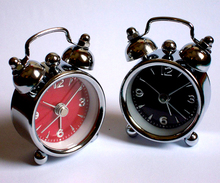 Black/red mini desktop Table Clock Bell Alarm Quartz watch men women kids