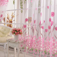 New Style Fashion Tulip Flower Scarf Sheer Voile Door Window Curtain Drape Panel Valances Pink Dropshipping HR(China)