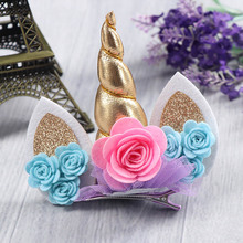 1PC Gold Unicorn Hairbands with Pony Ear Felt Rose Flower Animal unicorn Party Stretch Headband Hair Clips Hair Accessories