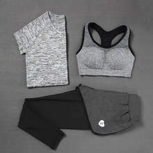 2016 New Women Sports Sets 3 pieces Sport wear Suits yoga suits Sport Bra Running set female quick dry t-shirt+trousers B0218