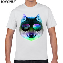 Joy Only Men White Color 100% Cotton T Shirts Hip Hop Animal Cool Glasses Galaxy Wolf 3D Print T-Shirt Brand Clothing Tops TA53