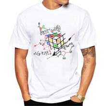 2016 New Fashion Math Work Design Men T-shirt Short Sleeve Hipster Tops Rubik cube Printed t shirts Cool tee
