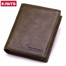 KAVIS New Genuine Leather Men Wallets Vintage Coin Purse Luxury Brand Bifold PORTFOLIO Rfid Fashion Magic Vallet Male Cuzdan
