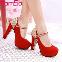 FAMSO Black Shoes 2017 Buckle High Heels Women Pumps Shoes Gold Silver Rhinestone Pumps Shoes Autumn Wedding Shoes Pumps ZWP2716