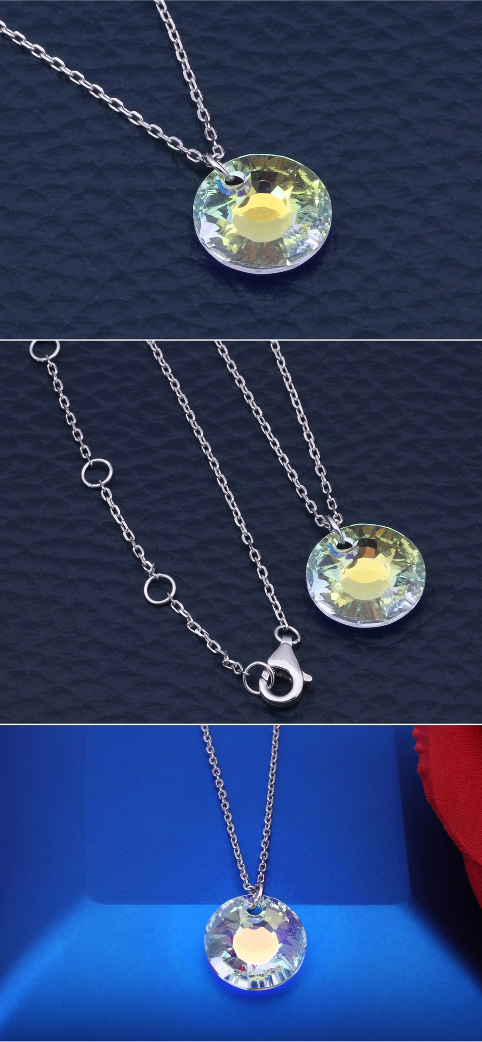Classic Austrian Crystal Sunflower Pendant Solid 925 Sterling Silver Necklace