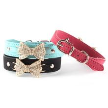 Buy New High Adjustable PU Leather Dog Collar Puppy Bling Crystal Rhinestone Bowknot Buckle Choker Gifts Pet Dress for $1.70 in AliExpress store