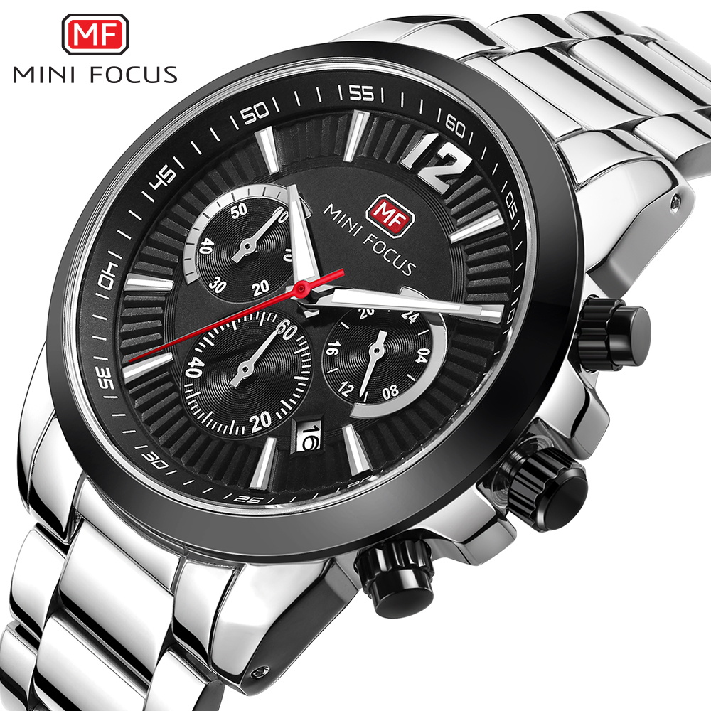 MINI Focus Men Watch Stainless Steel Six-pin Date Waterproof Watch Male Sport Chronograph Military Quartz WristWatch Army Clock<br>