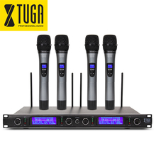 XTUGA Whole Metal Quiet EW240 4 Channel Cordless Microphones System UHF Wireless Karaoke System four handheld Mic(China)