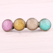 Sand Color Glass Cabochon Hair Clips for girls vintage bronze hair pin women hair jewelry accessories pince cheveux