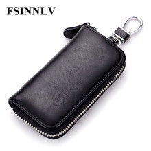 FSINNLV New Arrival Genuine Leather Key Holder Unisex Key Wallet 7 Colors Key Organizer Key Holder Car Housekeeper Wallet DC07(China)