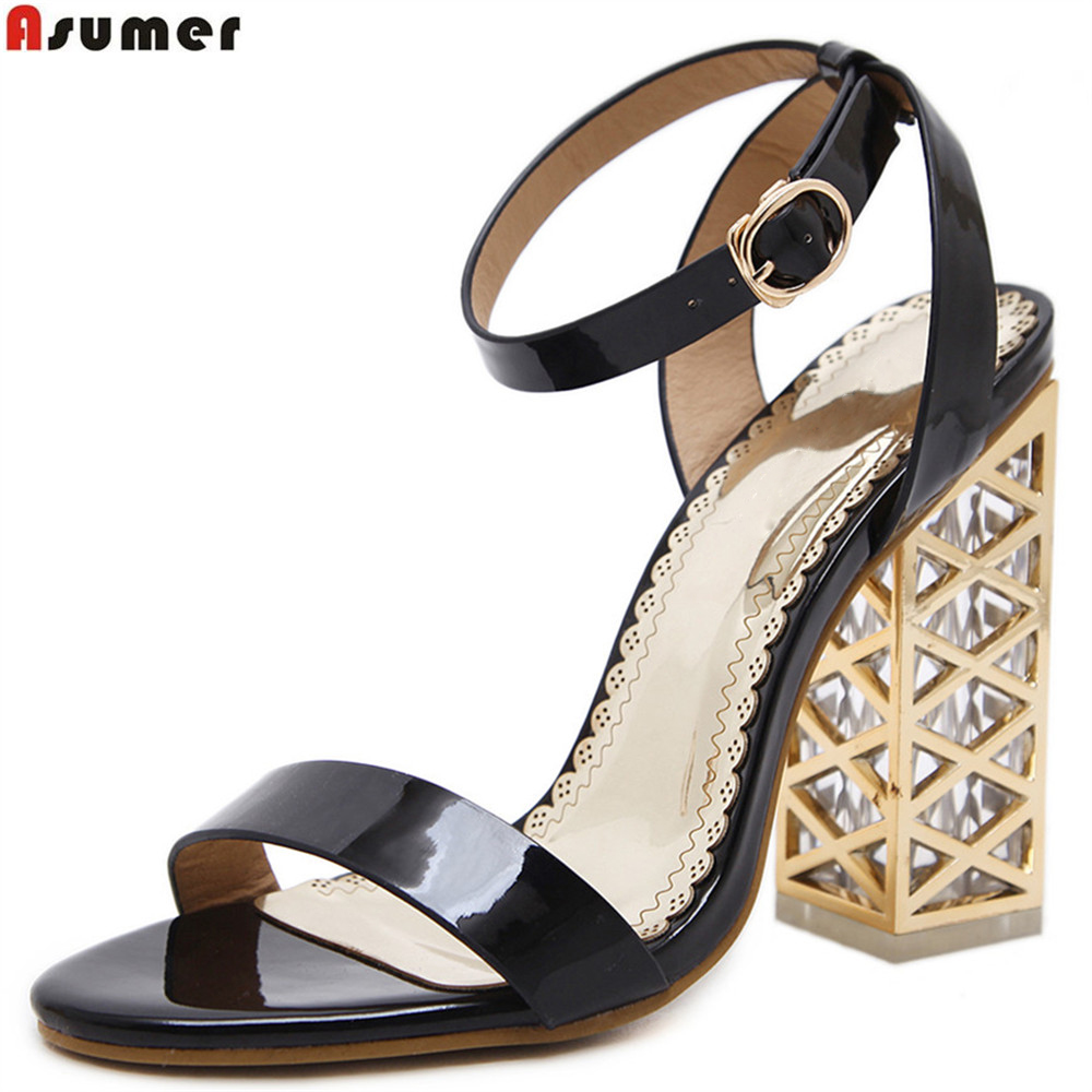 ASUMER black Champagne color fashion summer ladies shoes square heel buckle elegant wedding shoes women high heels sandals<br>