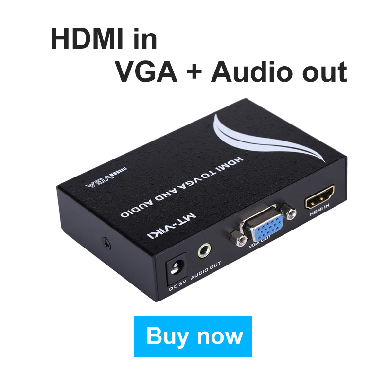 MT-VIKI HDMI to VGA Audio Converter HDMI2VGA Adapter with Power Supply Stable Image Performance 720P 1080P MT-HV01<br>