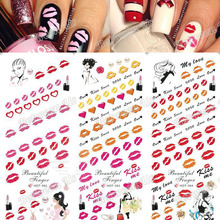 Hot Sale Water Transfer Decal Nail Art Stickers Kiss Me Red Lips Elements Manicure Sexy Lips 3 Sheet In One Page HOT82-84