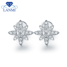 Flower Shape SI Diamond Stud Earring Real 18K White Gold Lovely Design for Fiancee Wedding Fine Jewelry Wholesale Gift(China)