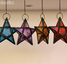 NOOLIM Metal Star Glass Lantern Hanging Candle Holder for Decorative Wedding Party Home Decoration Birthday Party