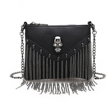 Women Small Bags Black Flap Skull Skeleton Tassel Soft PU Faux Leather Handbags Shoulder Bags Metal Chain Punk Cool Fashion