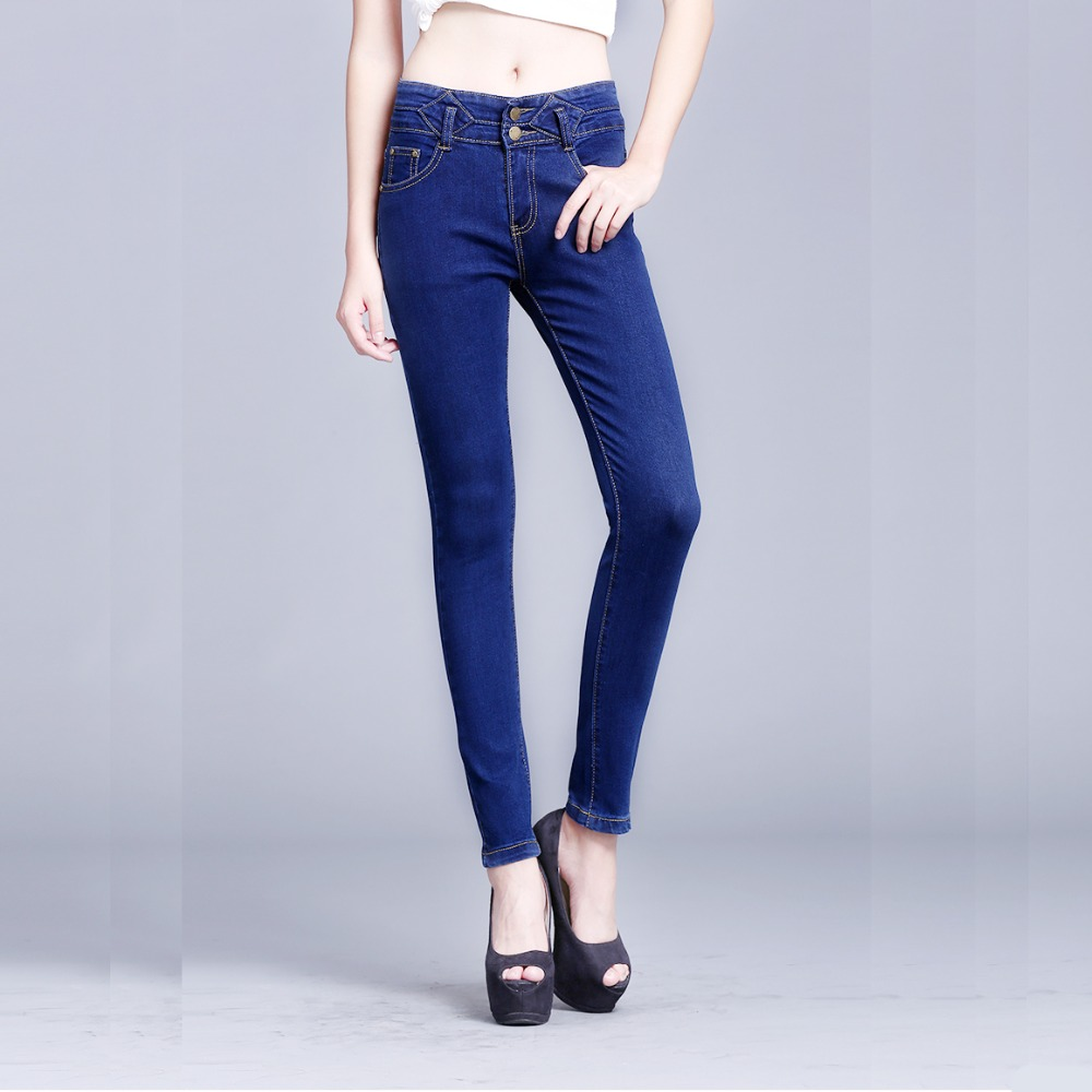 Spring  Womens pencil jeans stretch high waist skinny jeans Female casual slim denim pencil pants Plus size jean trousersОдежда и ак�е��уары<br><br><br>Aliexpress