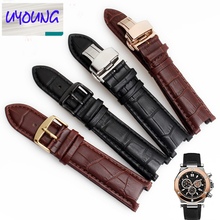 UYOUNG Black 20*11mm and 22*13mm High quality Genuine leatherwatchband cowhide Watch strap for GC with stainless steelbutterfly(China)