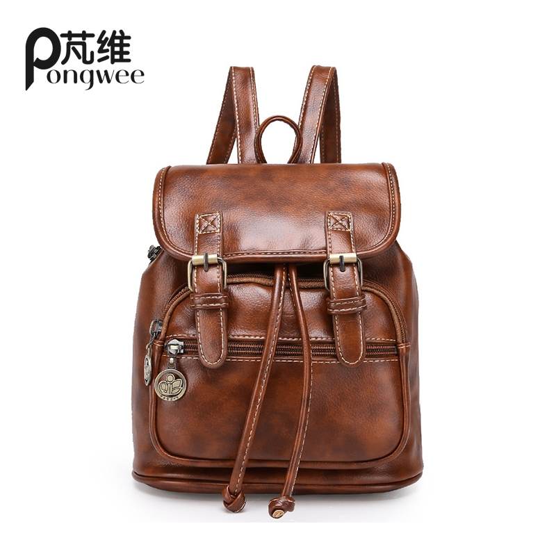 PONGWEE Luxury Gradient Brown Color Mens PU Leather Travel Backpack Casual School Backpack For College Stylish mochilas male<br>