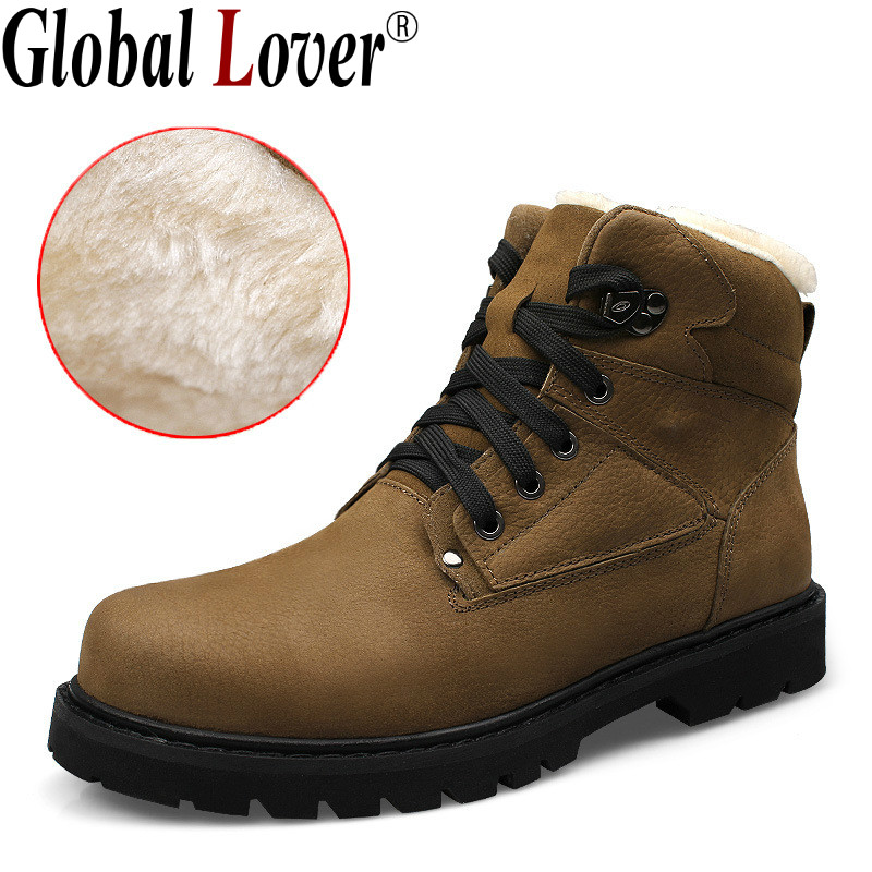 Global Lover 2017 Top Quality Autumn Winter Men Cotton Boots High Genuine Leather Big Size Martin Boots with Fur Mens Size 37-48<br><br>Aliexpress