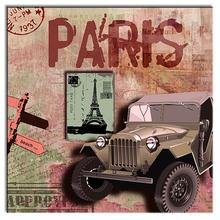 Hot Sale 1 Pcs Still Life Green Car Printed Painting Retro Abstract  Theme Of Paris Old Canvas Painting Wall Art Decor London