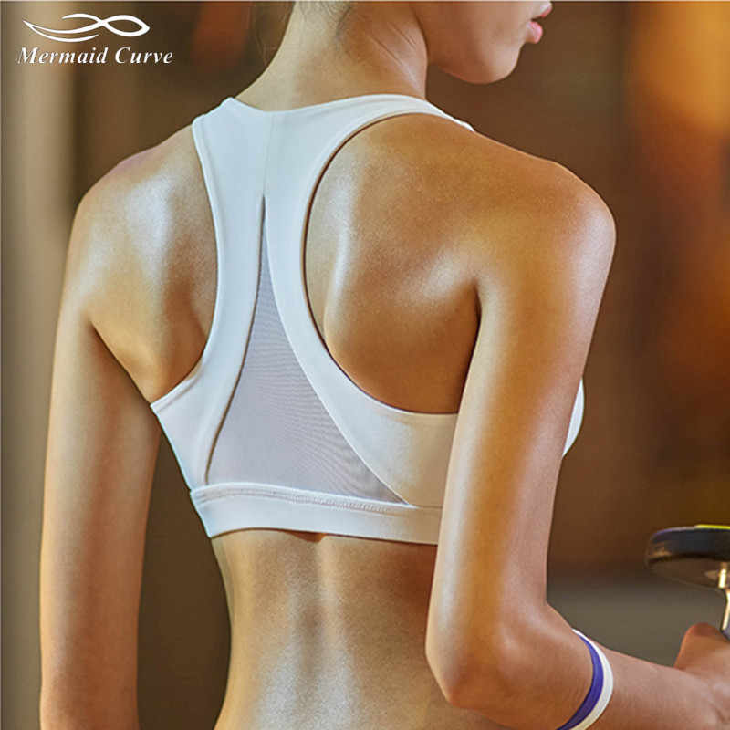 72c28dd9db Mermaid Curve 2018 Women Fitness Bras Sports Hollow Out Sexy Back Triangle  Solid Color Push Up