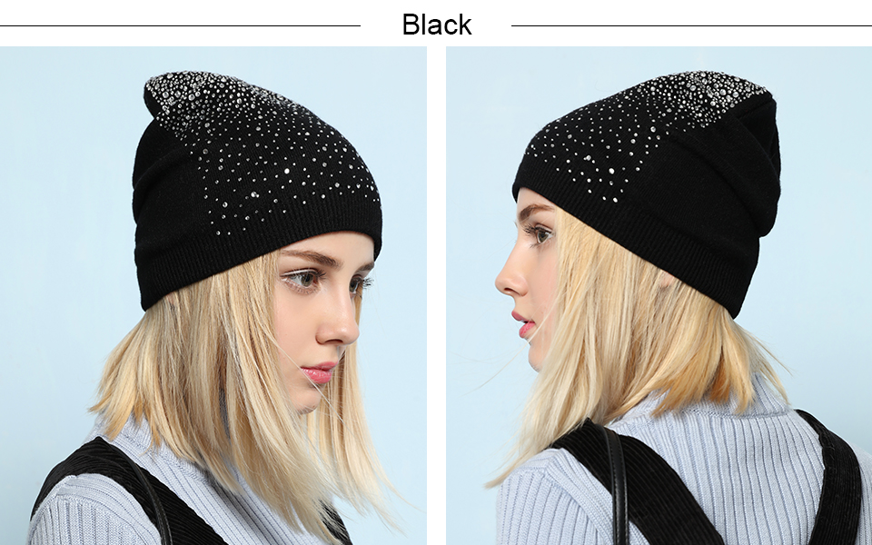 Ralferty Women's Hats Shiny beads Beanies Skullies Street Fashion Autumn Winter Hats For Women Thick Double Layer Caps Casual 7