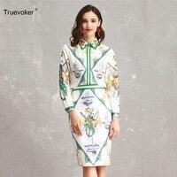 Truevoker Spring Designer Set Suit Women s High Quality Elegant Printed  Beading Blouse + Pencil Skirt Suit 0509005a6420
