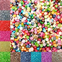 LNRRABC 5MM 600 piece/lot Half Round FlatBack Acrylic Imitation Pearl Beads For DIY Nail Art Designs Jewelry Accessories