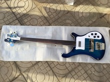 2016 New + Factory + Rickenback 4003 4 strings fretless bass guitar transparent blue finish Ricken 4003 fireglo fretless bass