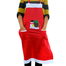 New Christmas Printed Apron with pockets non-woven bib kitchen apron home textiles Delantales cooking chef apron for Christmas
