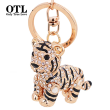 3D Crystal Animal Siberian Tiger Keychain Women Bag Accessories Creative Design Cartoon Tiger Pendant Keychain(China)