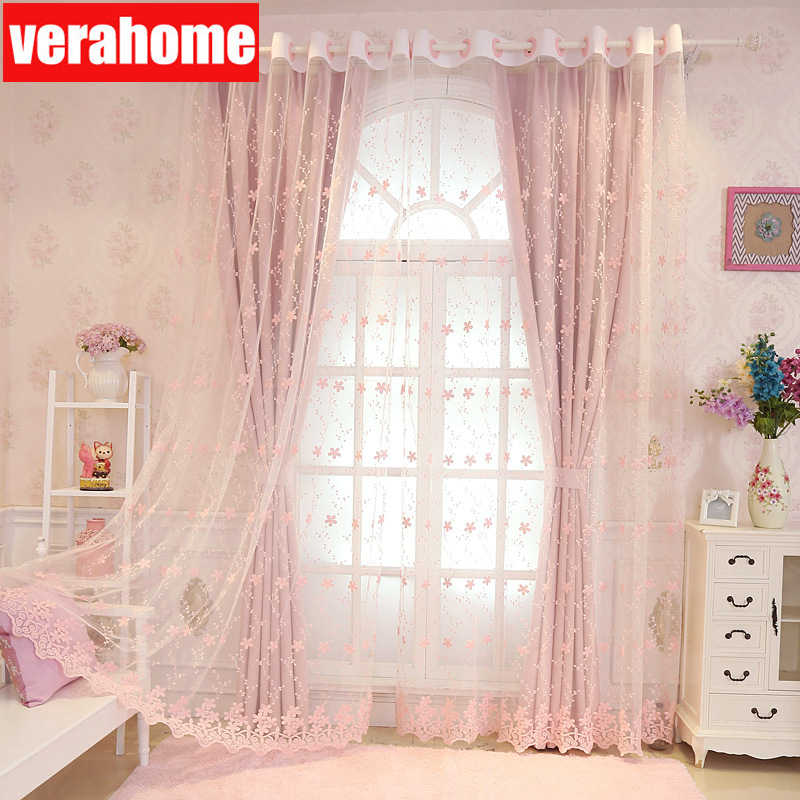 Korean pastoral blackout curtains Princess room girls bedroom Cherry for Living room bedroom windows sheer tulle romantic screen