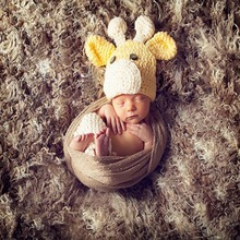 Baby Designer Knitted Crochet Animal style Lovely Yellow Deer Hat Caps Cool infant Hats Crochet Baby Hat