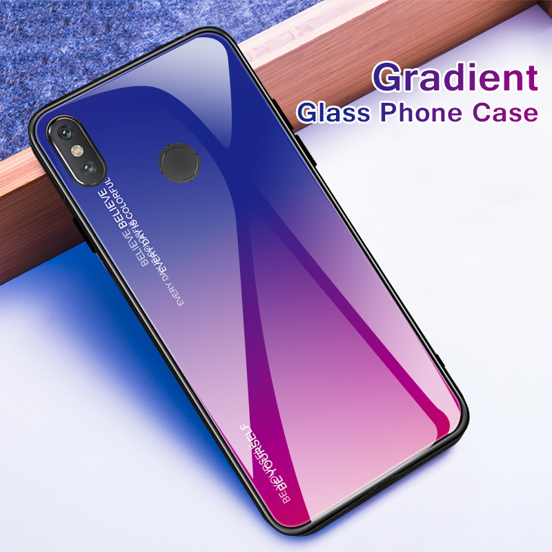 Gradient Tempered Glass Case For Xiaomi Redmi 6A 6 6 Pro Note 5 6 Pro 4X 5 Plus Pocophone F1 Mi Mi A2 Lite 8 Lite A1 6 8 Case