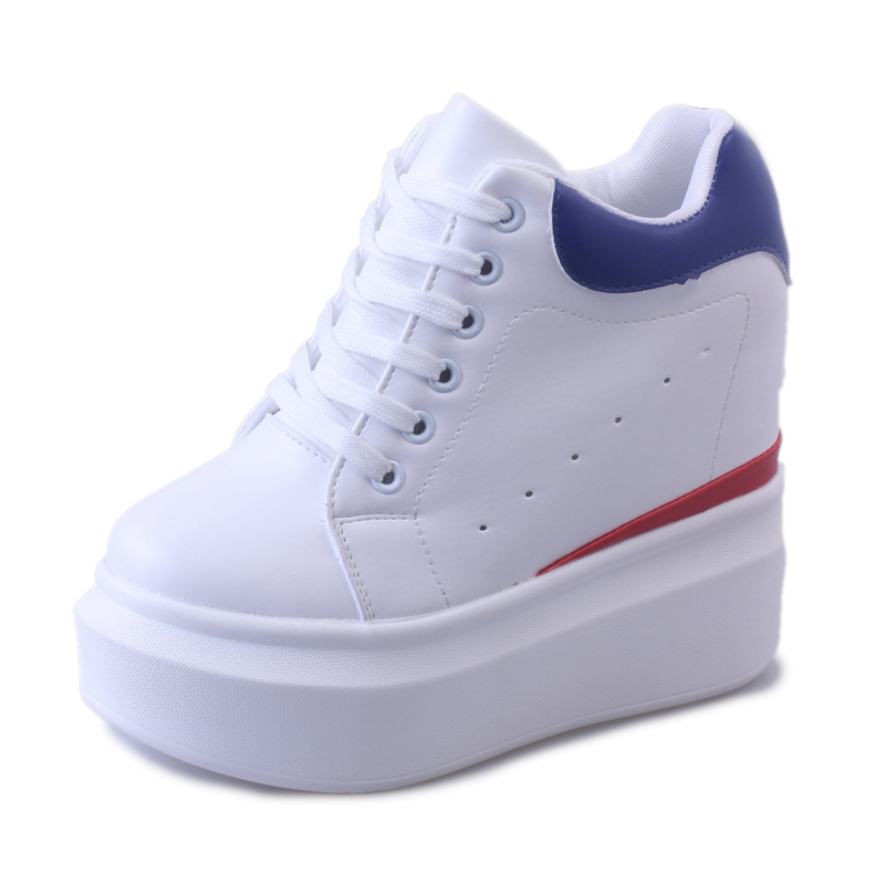 Women Pumps 12CM Increased Internal Womens Fashion High Heels Lace-Up Casual Shoes Ladies Wedges White<br>