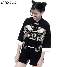 NYOOLO design China style retro handsome spring summer dragon embroidered loose three quarter linen shirt women clothing tops(China)