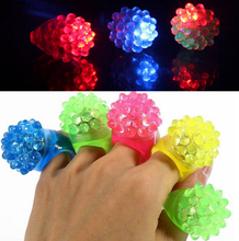 50PCS Christmas Party LED Soft Jelly Glowing Decorative Finger Rings Light Flashing Birthday Kids Children Light-up Toys
