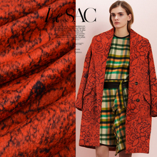 Wool jacquard fabrics coat cloak windbreaker autumn and winter high fashion custom made fabric wool fabric orange wool cloth(China)