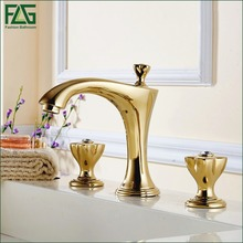 FLG Device Bath Mat Noble Golden Crystal Bathroom Faucet Handle Pad Lavabo Bataryas Robinet Salle De Bain 3Trou Taps China 308