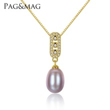 PAG&MAG Brand Classic Design 8-9mm Freshwater Pearl Pendant for Women 925 Sterling Silver Necklace Jewelry 3 colors to choose(China)