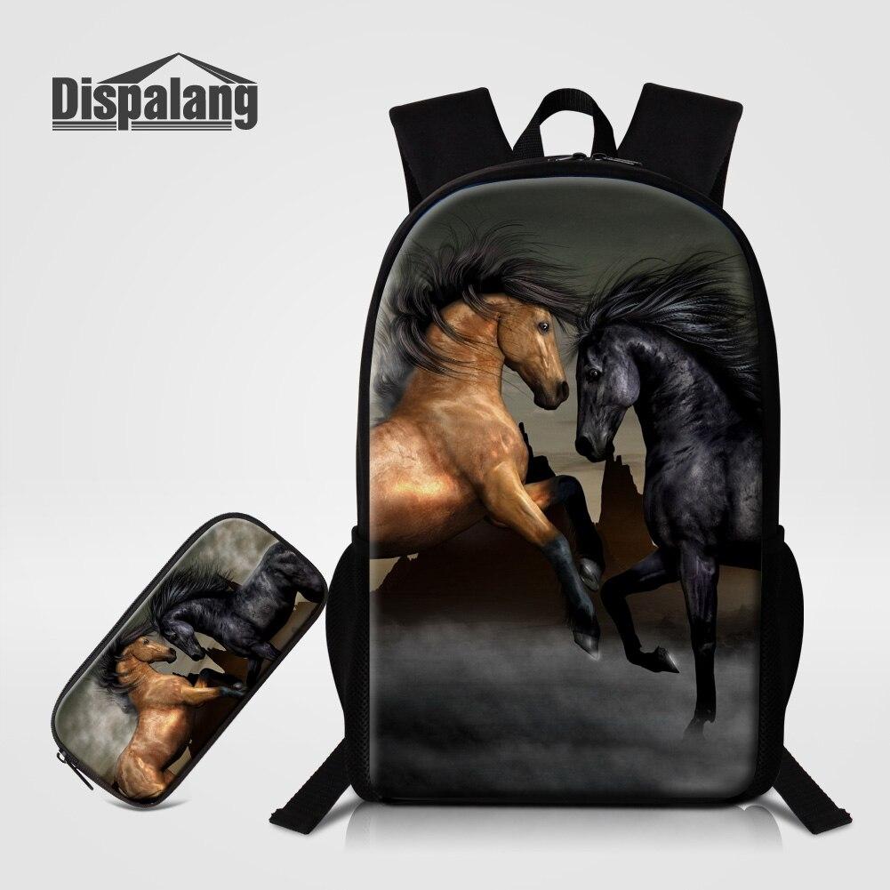 Dispalang 2 PCS/Set Women Backpack Pencil Bag Brown Horse Printing Children Backpack Boys Fashion School Bags Back Pack Mochilas<br>