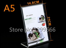L shape A5 Thickened Acrylic PriceTag Advertisement Poster Display stand Desk menu Label sign tag Crystal Promotional cards