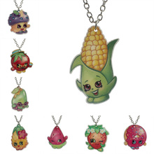 2016 Fashion Kawaii Shopping Fruit Resin Pendant For Little Girls Cartoon Planar Resin Children's Jewelry Necklace KS157