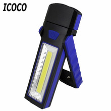 ICOCO COB LED Magnetic Work Stand Hanging Hook Light Flashlight Outdoors Bright Hand Torch lithium battery