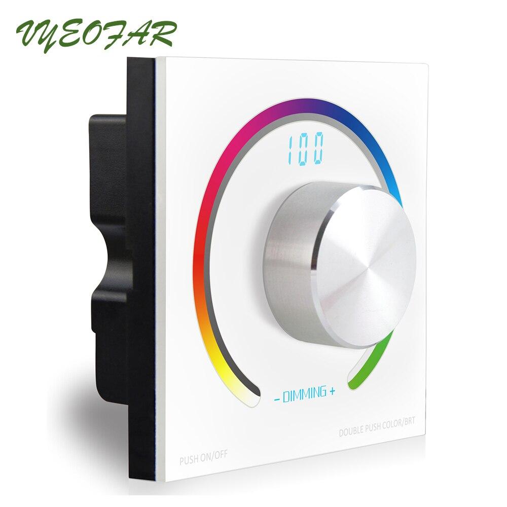New K3 Rotary Knob Led RGB Controller 12V Wall Mount RGB Controller RF Wireless 5050 3528 Led Strip Controller Digital Display<br>