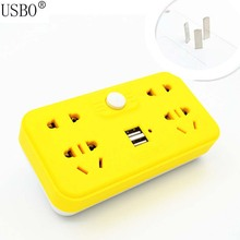 Yellow Blue Green 10A 250V Multifunctional Portable Home Travel Power Adapter Plug with USB Independent Switch Wireless Socket(China)