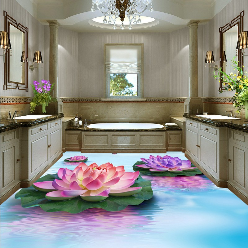 Free Shipping 3D water lotus floor decorative painting self-adhesive bedroom study lobby kitchen bathroom flooring mural<br>