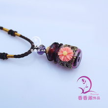 1pcs Murano Glass Perfume Bottle Necklace With Sunflower , Fragrance necklace vial, Perfume vial jewelry